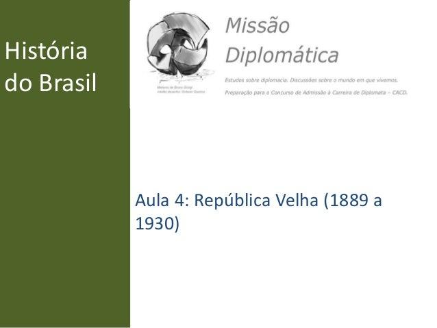 História do Brasil Aula 4: República Velha (1889 a 1930)