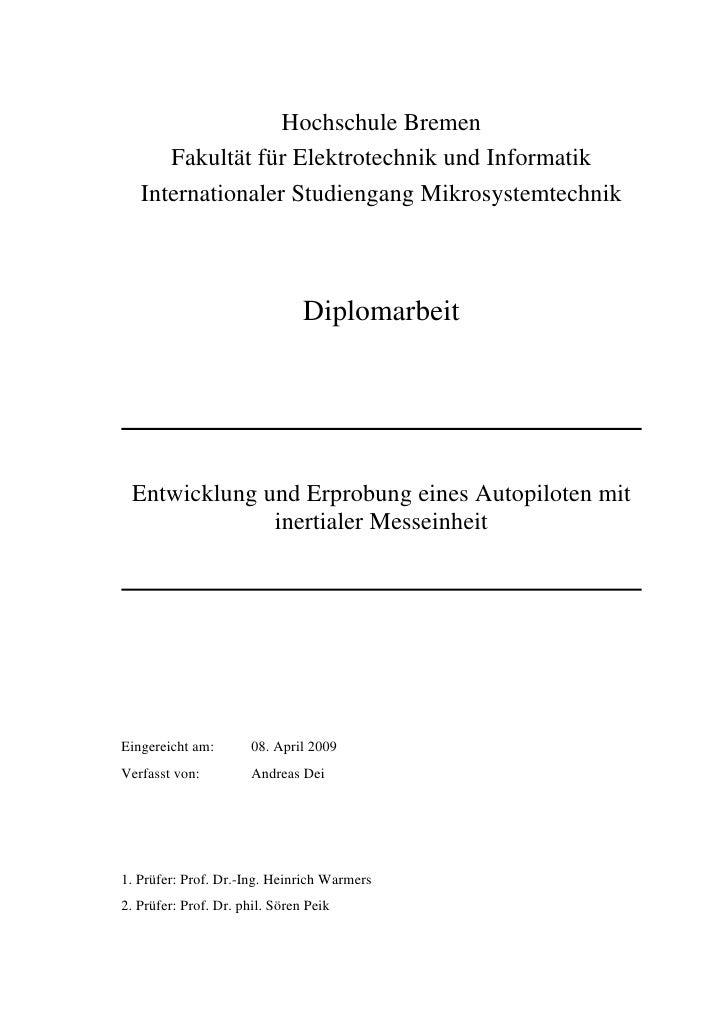 Hochschule Bremen       Fakultät für Elektrotechnik und Informatik    Internationaler Studiengang Mikrosystemtechnik      ...