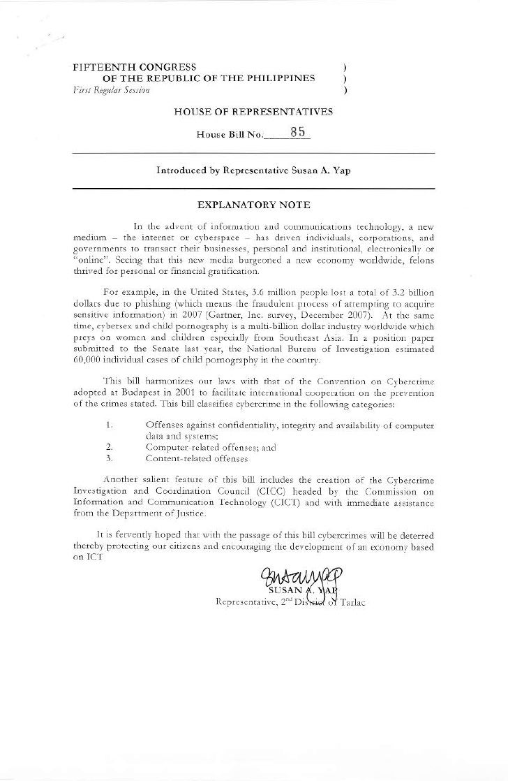 House Bill 85 Proposed Cybercrime Act