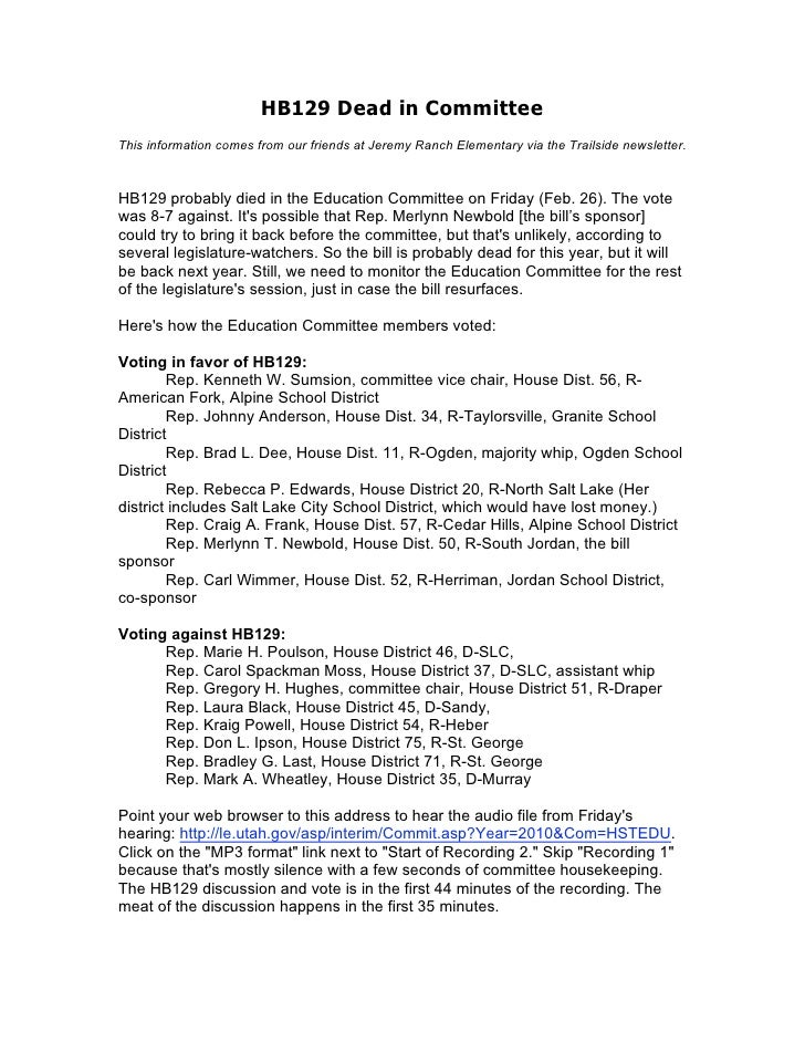HB129 Dead in Committee This information comes from our friends at Jeremy Ranch Elementary via the Trailside newsletter.  ...