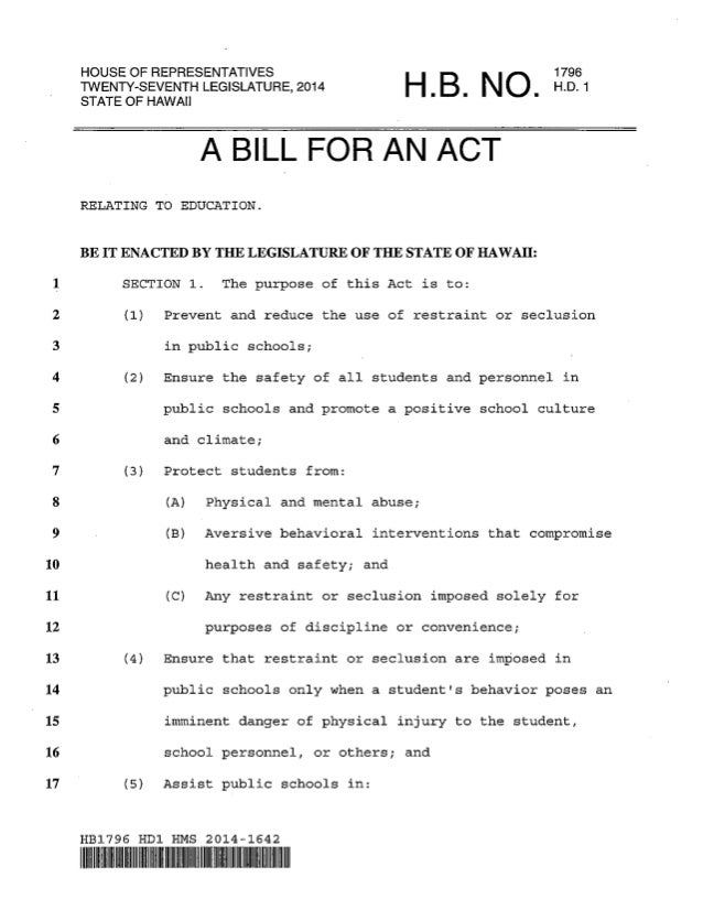 HOUSE OF REPRESENTATIVES TWENTY-SEVENTH LEGISLATURE, 2014 STATEOFHAWAII  ~  IN  1796 H.D. 1  A BILL FOR AN ACT RELATING TO...
