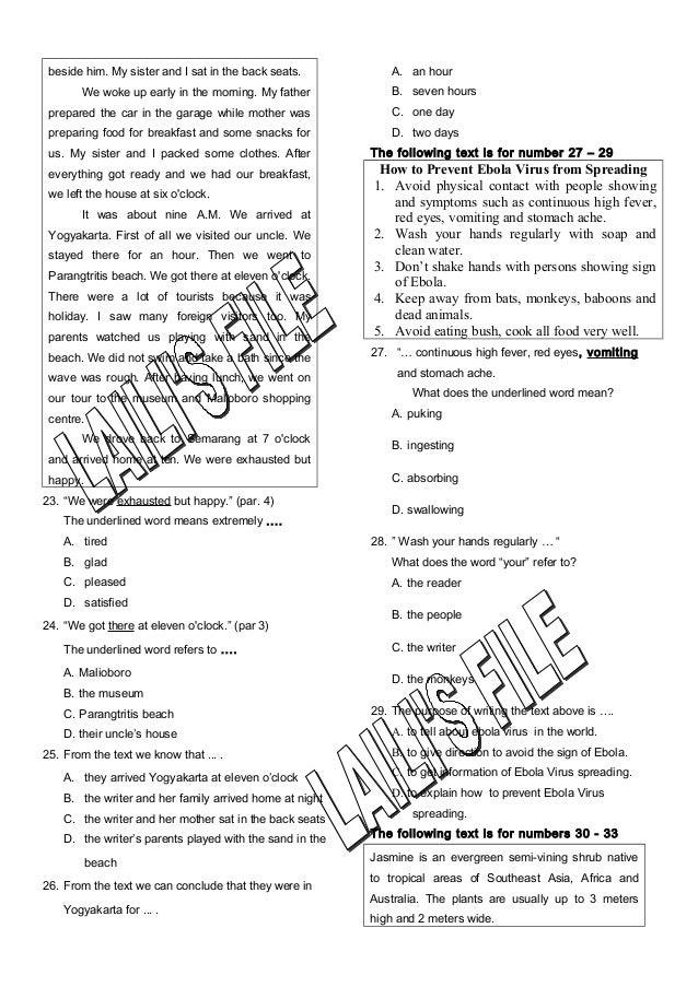 Soal Bahasa Inggris Kelas 9 Sesuai Kisi Kisi Un 2016