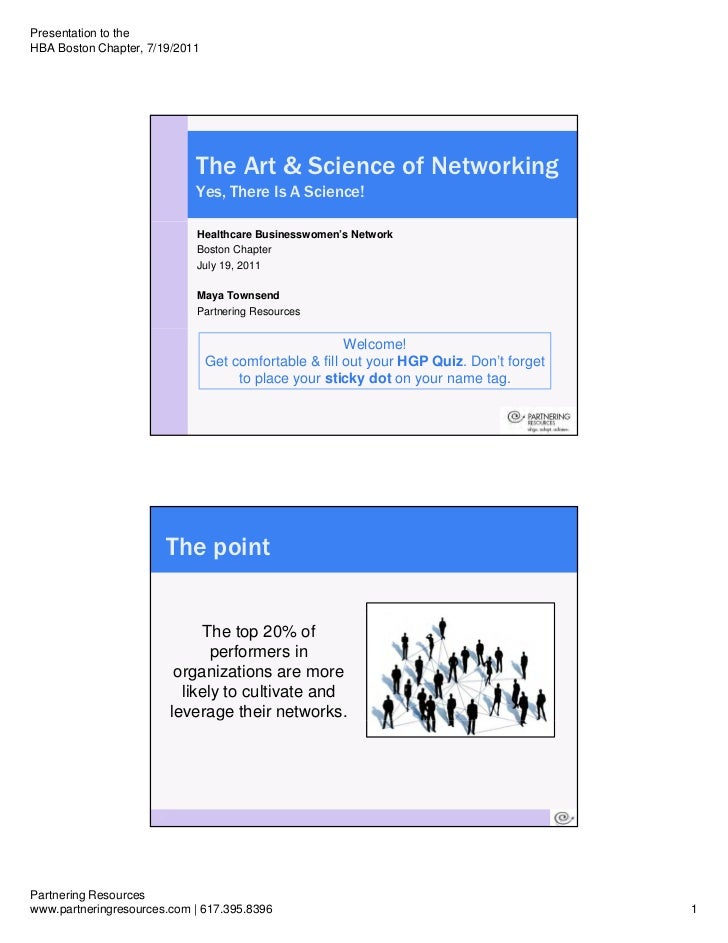 Presentation to theHBA Boston Chapter, 7/19/2011                             The Art & Science of Networking              ...