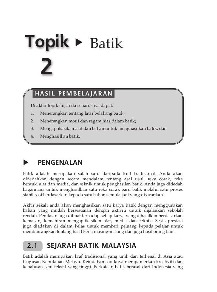 16           TOPIK 2 BATIK Topik                            Batik           2          HASIL PEMBELAJARAN          4.   ...