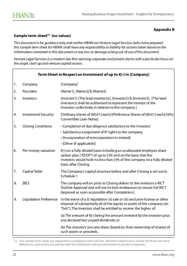 Raising business angel investment insights for entrepreneurs for Investor term sheet template