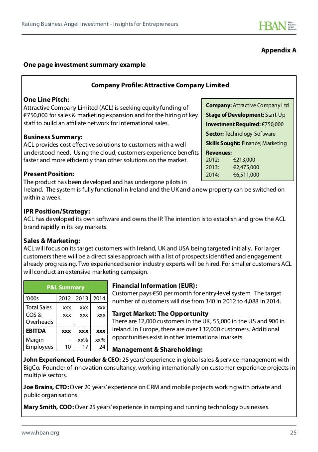 one page executive summary examples