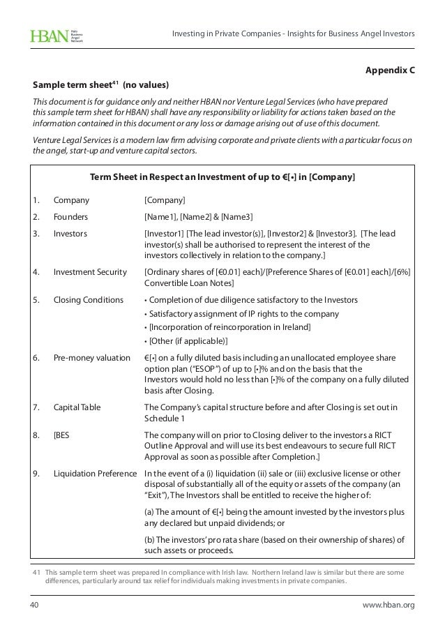 HBAN Investing in Private Companies Insights for Business Angel Inv – Investors Agreement Template