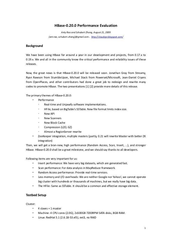 HBase‐0.20.0PerformanceEvaluation                                AntyRaoandSchubertZhang,...