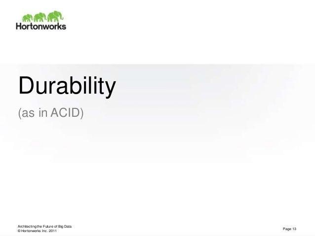 © Hortonworks Inc. 2011Durability(as in ACID)Architecting the Future of Big DataPage 13