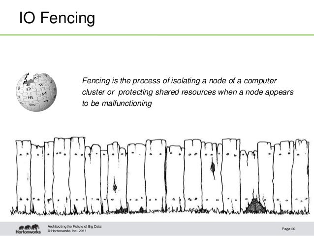 © Hortonworks Inc. 2011IO FencingFencing is the process of isolating a node of a computercluster or protecting shared reso...