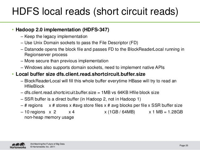 © Hortonworks Inc. 2011HDFS local reads (short circuit reads)• Hadoop 2.0 implementation (HDFS-347)– Keep the legacy imple...