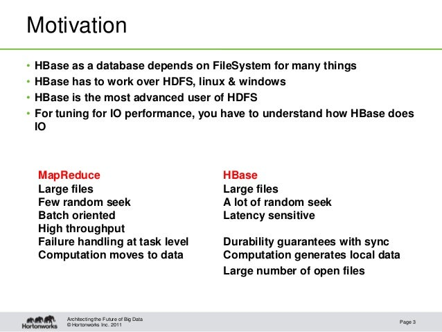 © Hortonworks Inc. 2011Motivation• HBase as a database depends on FileSystem for many things• HBase has to work over HDFS,...