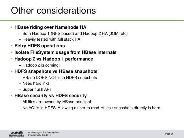 © Hortonworks Inc. 2011Other considerations• HBase riding over Namenode HA– Both Hadoop 1 (NFS based) and Hadoop 2 HA (JQM...