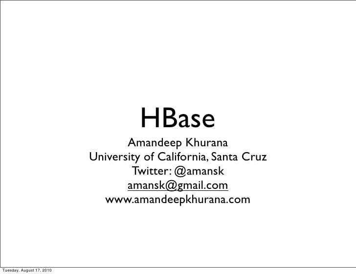 HBase @ Hadoop Day Seattle