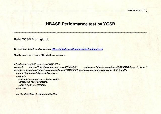 www.vmcd.org  HBASE Performance test by YCSB  ----------------------------------------------------------------------------...