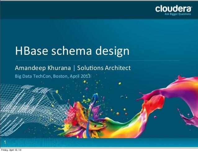 HBase schema design             Headline Goes Here             Amandeep Khurana | Solu7ons AHere          ...