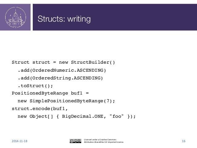Structs: writing  !  !  !  Struct struct = new StructBuilder()!  .add(OrderedNumeric.ASCENDING)!  .add(OrderedString.ASCEN...