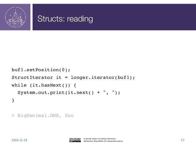Structs: reading  !  !  !  !  buf1.setPosition(0);!  StructIterator it = longer.iterator(buf1);!  while (it.hasNext()) {! ...