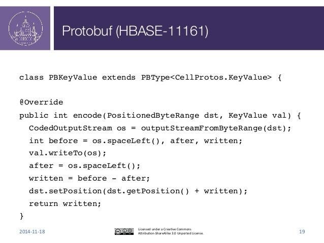 Protobuf (HBASE-11161)  !  class PBKeyValue extends PBType<CellProtos.KeyValue> {!  !  @Override!  public int encode(Posit...