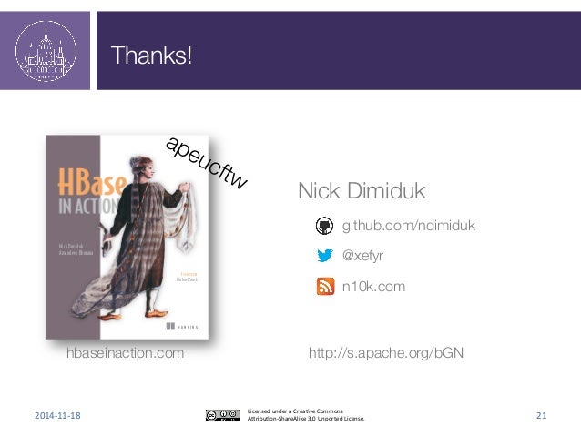 Thanks!  M A N N I N G  Nick Dimiduk  Amandeep Khurana  FOREWORD BY  Michael Stack  hbaseinaction.com  Nick Dimiduk  githu...
