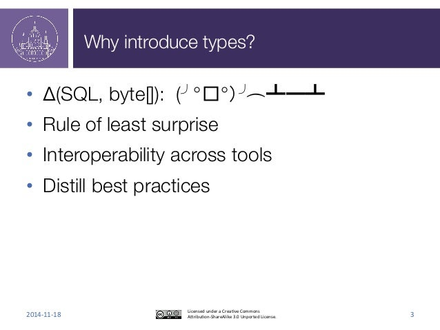 Why introduce types?  • Δ(SQL, byte[]): (╯°□°)╯︵ ┻━┻  • Rule of least surprise  • Interoperability across tools  • Distill...