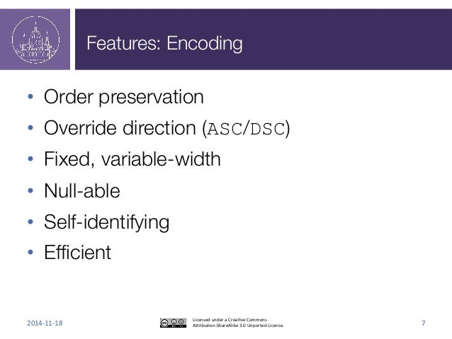 Features: Encoding  • Order preservation  • Override direction (ASC/DSC)  • Fixed, variable-width  • Null-able  • Self-ide...
