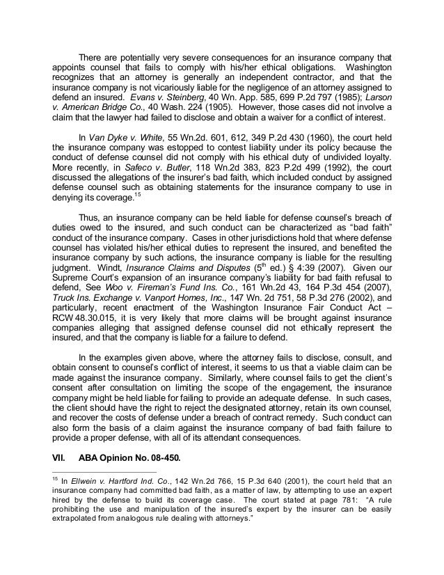 Bad Faith Nov2013 Policyholder View Of Defense Counsel Ethical Duties