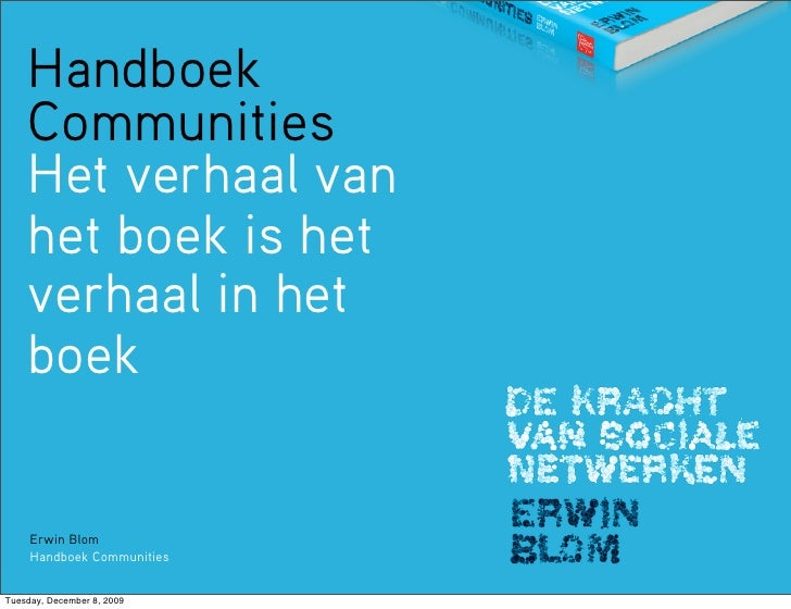 Handboek     Communities     Het verhaal van     het boek is het     verhaal in het     boek        Erwin Blom      Handbo...