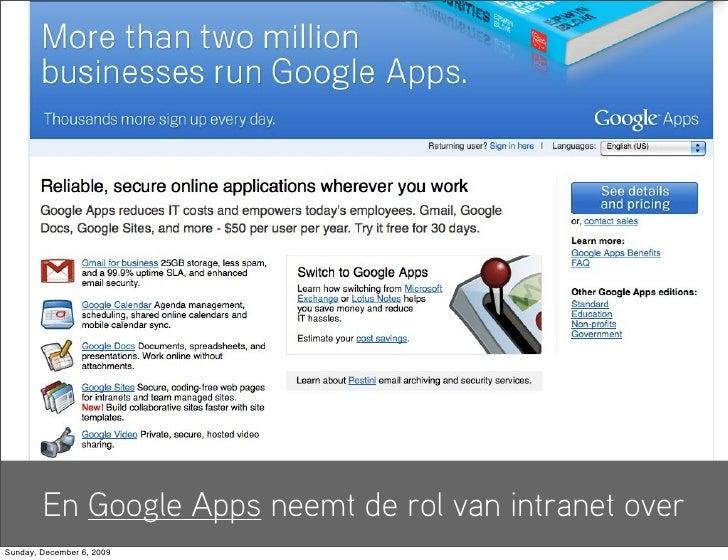 En Google Apps neemt de rol van intranet over Sunday, December 6, 2009