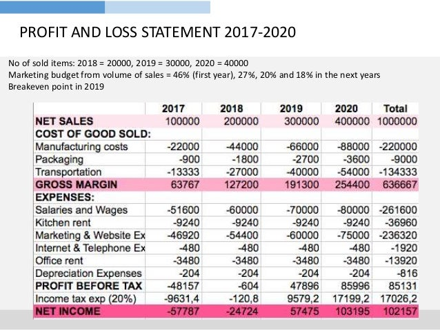 profit and loss business plan