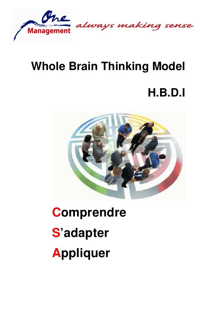 Whole Brain Thinking Model                     H.B.D.I        Comprendre    S'adapter    Appliquer