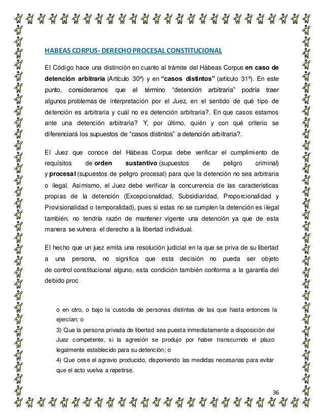 HABEAS CORPUS- DERECHO PROCESAL CONSTITUCIONAL 36 El Código hace una distinción en cuanto al trámite del Hábeas Corpus en ...