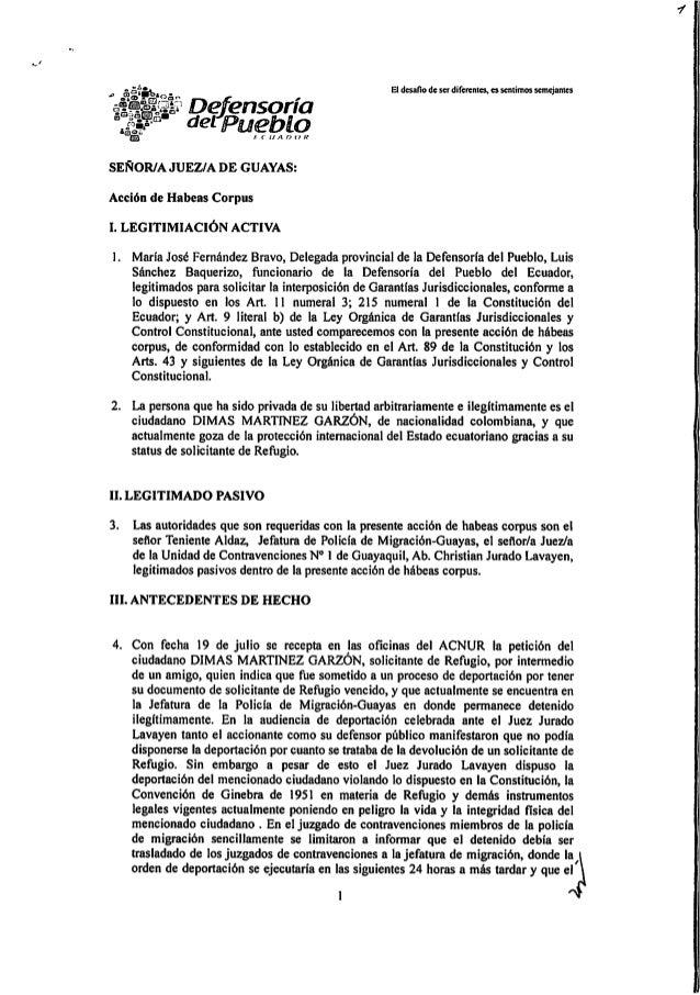 Hábeas corpus solicitante de refugio Guayaquil