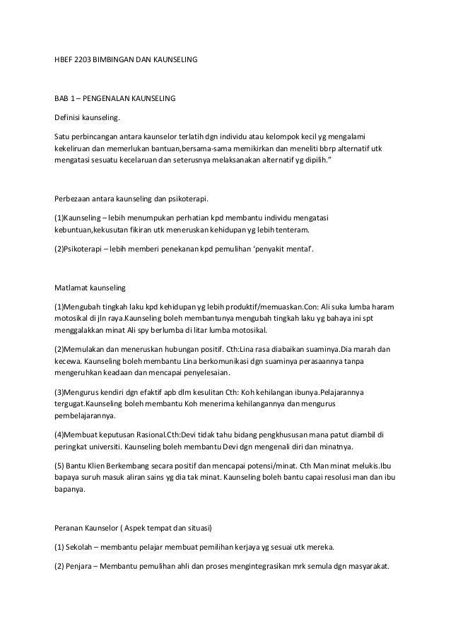 HBEF 2203 BIMBINGAN DAN KAUNSELINGBAB 1 – PENGENALAN KAUNSELINGDefinisi kaunseling.Satu perbincangan antara kaunselor terl...