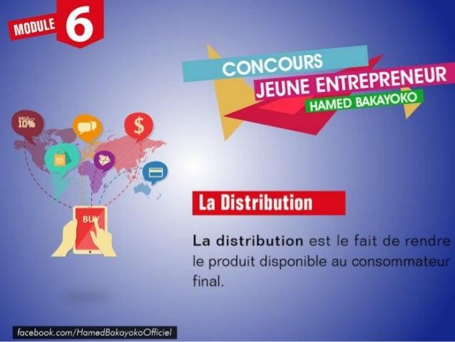 La distribution permet de rendre le produit disponible à l'usage et à la consommation. Elle peut s'effectuer directement p...