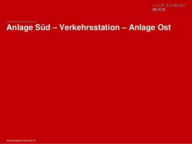 www.hauptbahnhof-wien.at Anlage Süd – Verkehrsstation – Anlage Ost