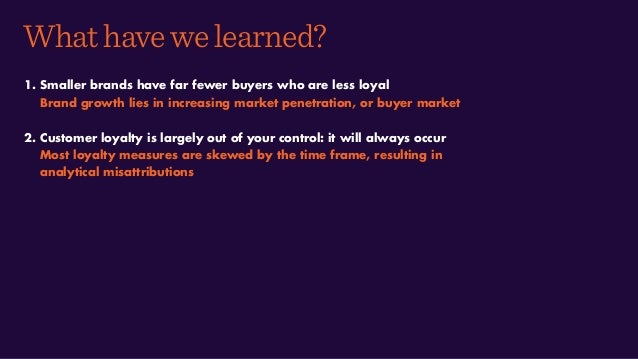 Whathavewelearned? 1. Smaller brands have far fewer buyers who are less loyal Brand growth lies in increasing market penet...