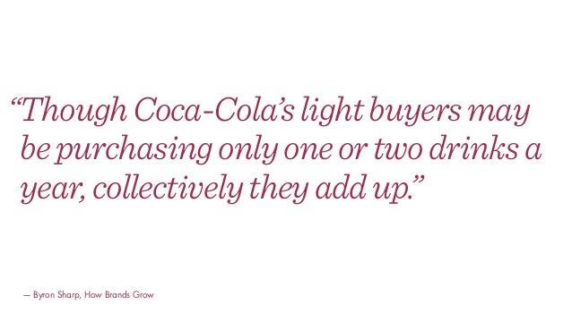 """ThoughCoca-Cola'slightbuyersmay bepurchasingonlyoneortwodrinksa year,collectivelytheyaddup."" — Byron Sharp, How Brands Gr..."