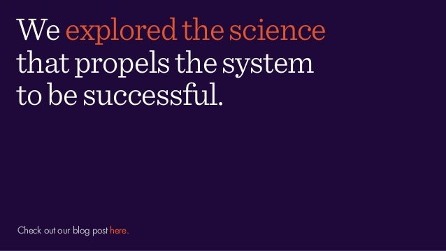 Weexploredthescience thatpropelsthesystem tobesuccessful. Check out our blog post here.