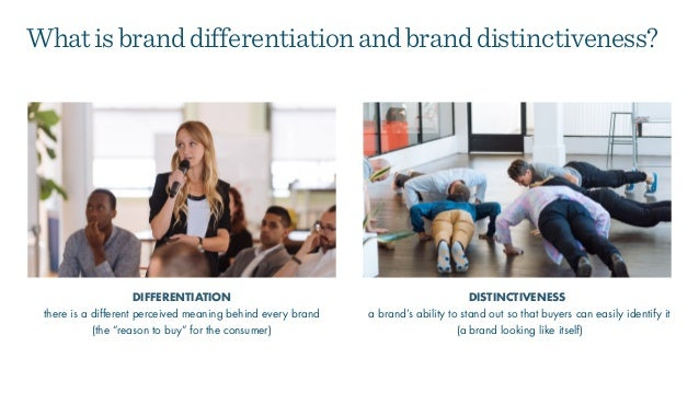 a brand's ability to stand out so that buyers can easily identify it (a brand looking like itself) DIFFERENTIATION DISTINC...