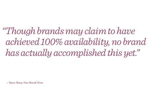 """Thoughbrandsmayclaimtohave achieved100%availability,nobrand hasactuallyaccomplishedthisyet."" — Byron Sharp, How Brands Gr..."