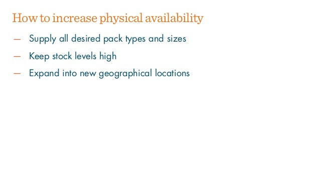 — Supply all desired pack types and sizes — Keep stock levels high — Expand into new geographical locations Howtoincreasep...