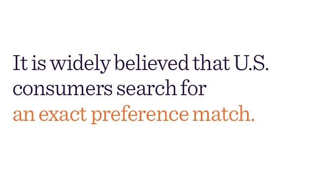 ItiswidelybelievedthatU.S. consumerssearchfor anexactpreferencematch.