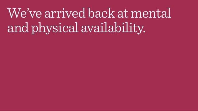 We'vearrivedbackatmental andphysicalavailability.