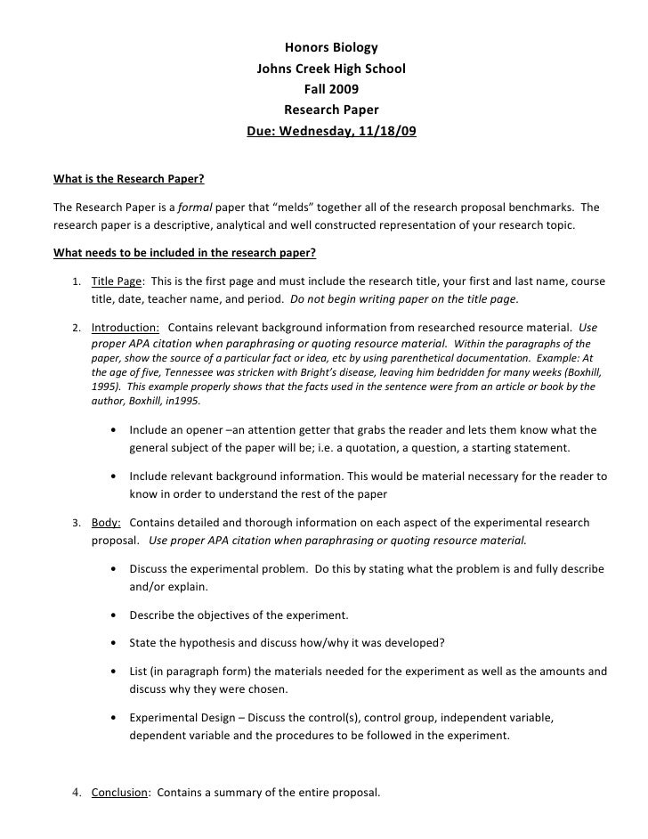 H bio research proposal – Research Proposal Examples