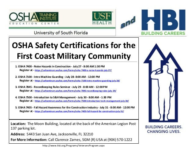 OSHA Safety Certifications for the First Coast Military Community