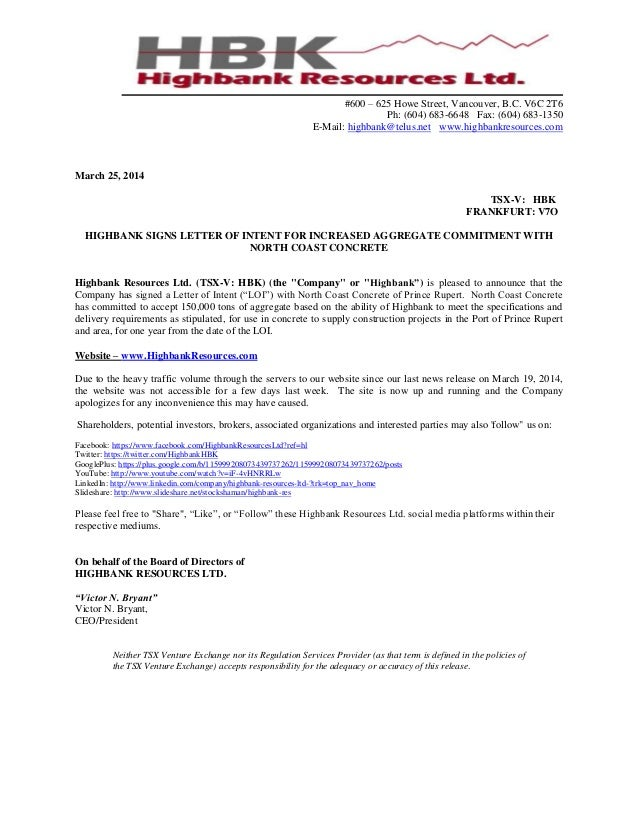 News Release HIGHBANK SIGNS LETTER OF INTENT FOR INCREASED AGGREGATE …