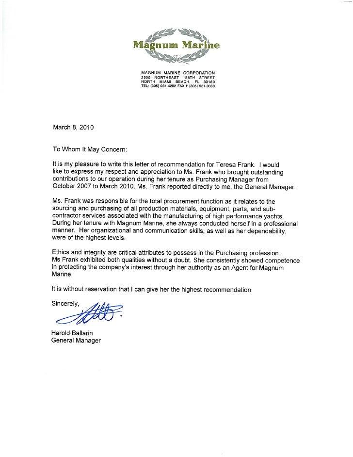 Superieur Letter Of Recommendation   Magnum Marine Corporation