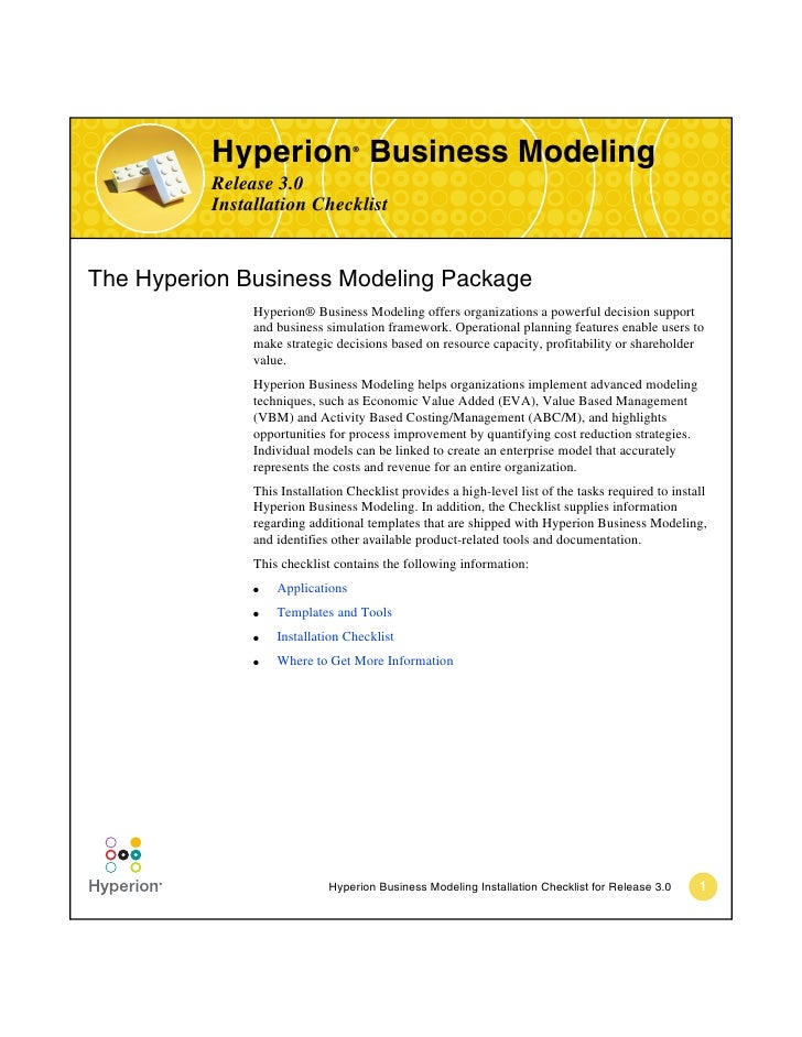 Hyperion Business Modeling                                  ®          Release 3.0          Installation ChecklistThe Hype...