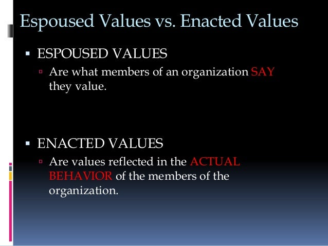 starbucks espoused and enacted values The value congruence between what an organization such as starbucks  used  as decorative devices rather the espoused values are enacted by managers in.